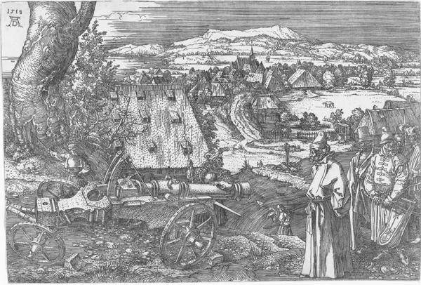 """Albrecht Dürer: """"Landschaft mit Kanone (Die große Kanone)"""" (1518)"""